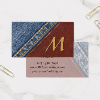 Vintage Monogram Denim and Leather Business Card