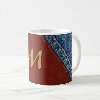 Vintage Monogram Denim and Leather Coffee Mug