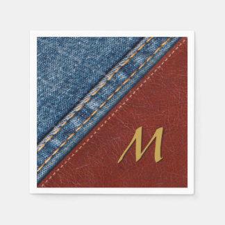 Vintage Monogram Denim and Leather Disposable Napkins