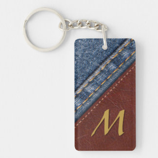 Vintage Monogram Denim and Leather Keychain