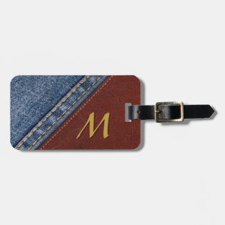 Vintage Monogram Denim and Leather Luggage Tag