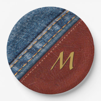 Vintage Monogram Denim and Leather Paper Plate