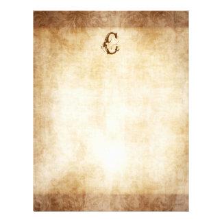 Vintage Monogram Faded Damask Paper Letterhead Template