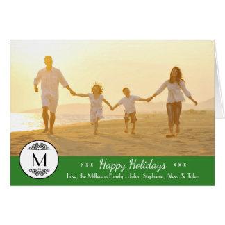 Vintage Monogram - Happy Holidays Folded Card