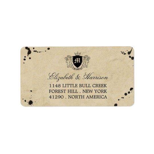 Vintage Monogram & Ink Stain Wedding Label