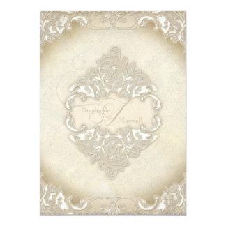 "Vintage Monogram Lace Baroque Etching Swirl Formal 5"" X 7"" Invitation Card"