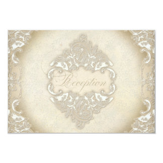 "Vintage Monogram Lace Baroque Etching Swirl Formal 3.5"" X 5"" Invitation Card"