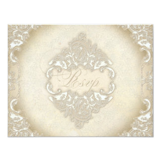 "Vintage Monogram Lace Wild Pink Rose Swirl Formal 4.25"" X 5.5"" Invitation Card"