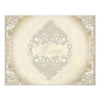 "Vintage Monogram Lace Wild Pink Rose Swirl Formal 4.25"" X 5.5"" Invitation Card"