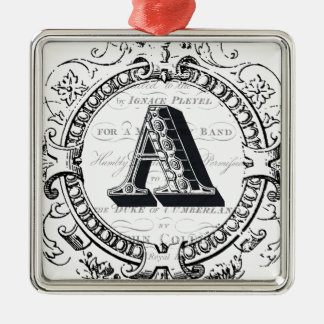 Vintage monogram letter A Silver-Colored Square Ornament