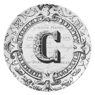 Vintage monogram letter C Plate