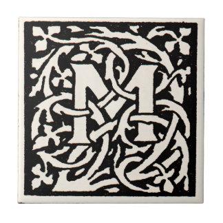 Vintage Monogram M Art Nouveau Letter Tile