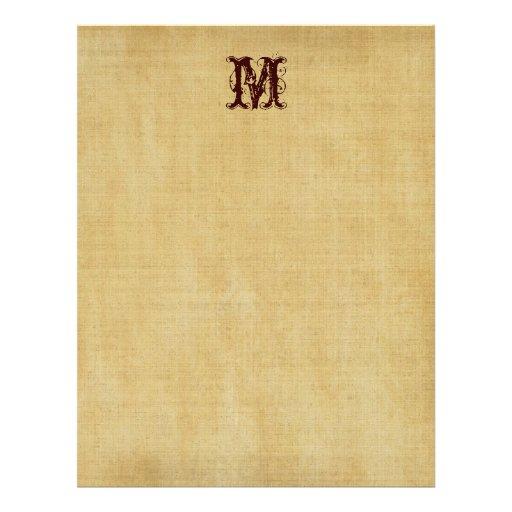 Vintage Monogram Parchment Paper Letterhead Design