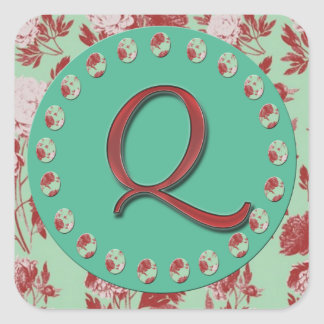 Vintage Monogram Q Square Sticker