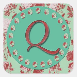 Vintage Monogram Q Square Sticker