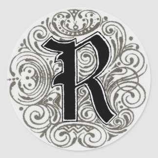 Vintage Monogram 'R' in Grey Classic Round Sticker
