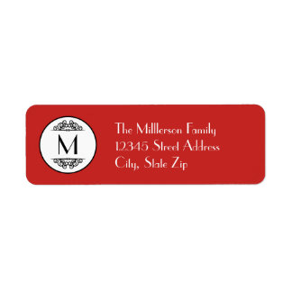 Vintage Monogram Red - Address Label