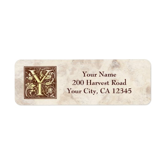 Vintage Monogram Y Return Address Label
