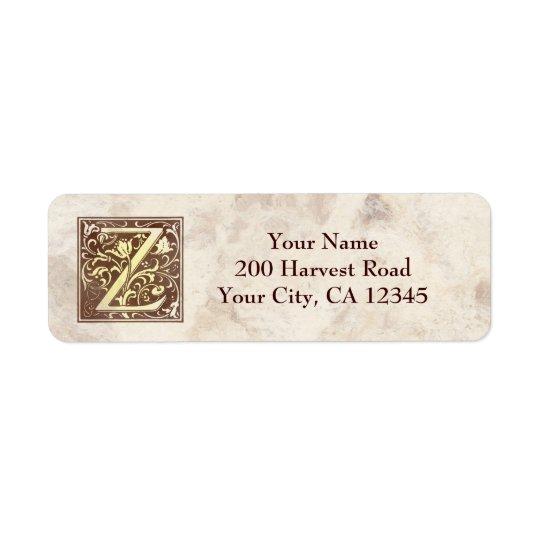 Vintage Monogram Z Return Address Label