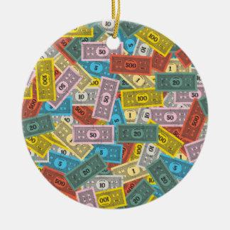 Vintage Monopoly Money Round Ceramic Ornament