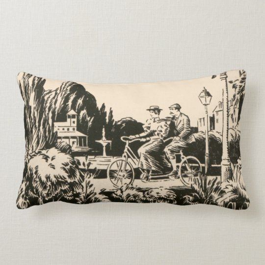Vintage Monotone Tandem Bicycle Man Woman Nature Lumbar Pillow
