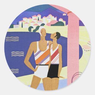 Vintage Monte Carlo Beach Round Sticker