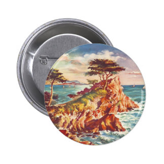 Vintage Monterey Coastline Californian Tourism USA 2 Inch Round Button