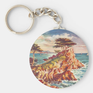 Vintage Monterey Coastline Californian Tourism USA Basic Round Button Keychain