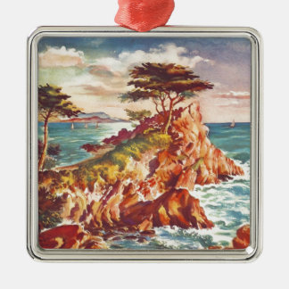 Vintage Monterey Coastline Californian Tourism USA Silver-Colored Square Ornament