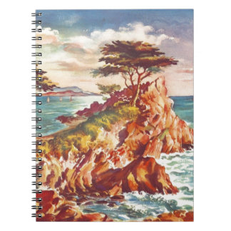 Vintage Monterey Coastline Californian Tourism USA Spiral Note Book