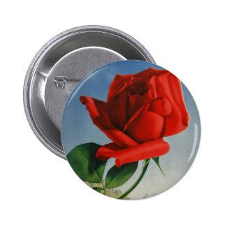 Vintage Montreux Red Rose Switzerland Geneva Lake 2 Inch Round Button