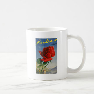 Vintage Montreux Red Rose Switzerland Geneva Lake Coffee Mug