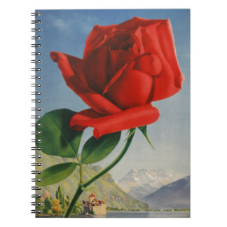 Vintage Montreux Red Rose Switzerland Geneva Lake Notebook