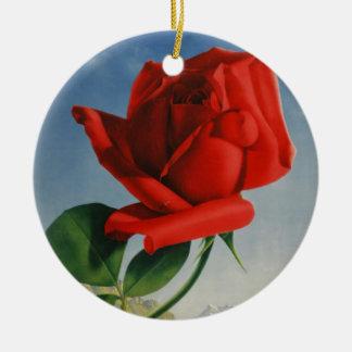 Vintage Montreux Red Rose Switzerland Geneva Lake Round Ceramic Ornament