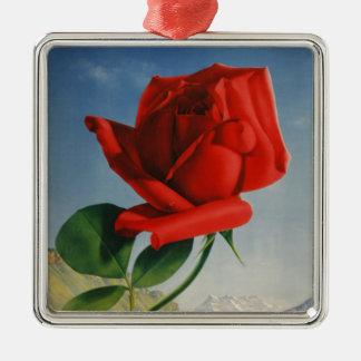 Vintage Montreux Red Rose Switzerland Geneva Lake Silver-Colored Square Ornament