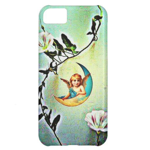 Vintage Moon Angel In midst Of Morning Glory Vine iPhone 5C Cover