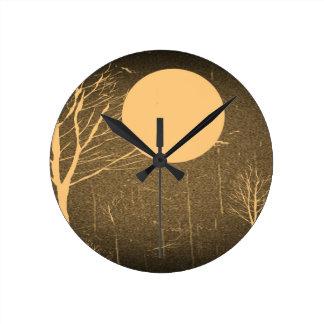 Vintage Moon At Night Fine Art Round Clock