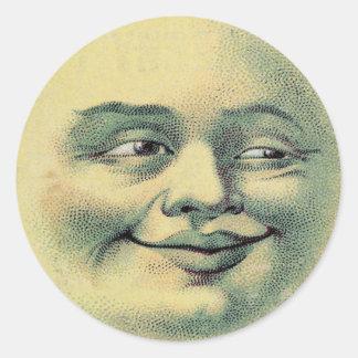 Vintage Moon Classic Round Sticker