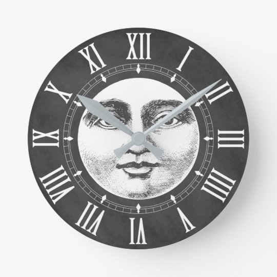 Vintage Moon Face in Chalk White Round Clock
