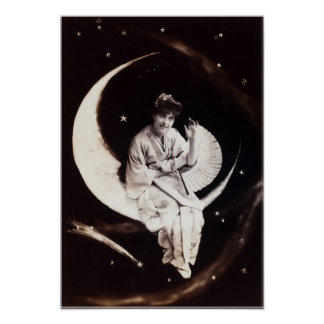 Vintage Moon Lady Poster