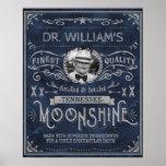 Vintage Moonshine Hillbilly Medicine Custom Blue Poster