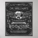 Vintage Moonshine Hillbilly Medicine Custom Grey Poster