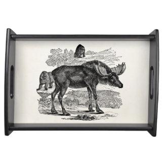 Vintage Moose Elk Personalized Animal Illustration Serving Tray