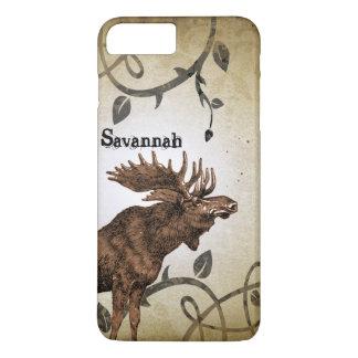 Vintage Moose Faded Damask Burnt Vines iPhone Case