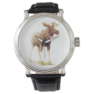 Vintage Moose Illustration, Animal Drawing Wristwatches