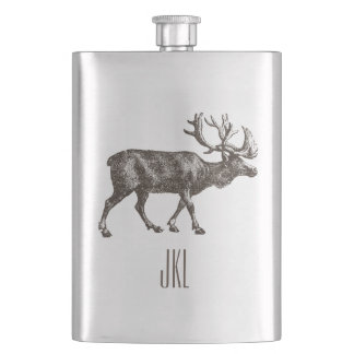Vintage Moose with Monogram Hip Flask