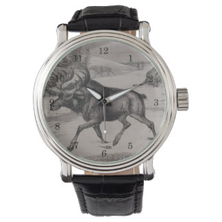 Vintage Moose Woodcut Watch by Leslie Harlow