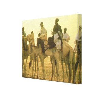 Vintage Morocco  Camel riders in the desert Canvas Print