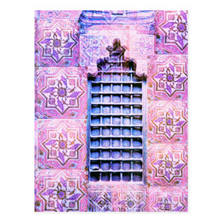 Vintage Morocco Window Pink Oranate Boho Chic Postcard