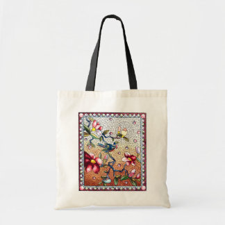 Vintage mosaic bird and flowers tote bag